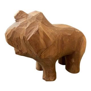 Folk Art Hand Carved Wooden Animal For Sale