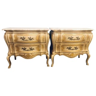 Pair of John Widdicomb Louis XV Style Marble Top Bombe Commodes or Nightstands For Sale