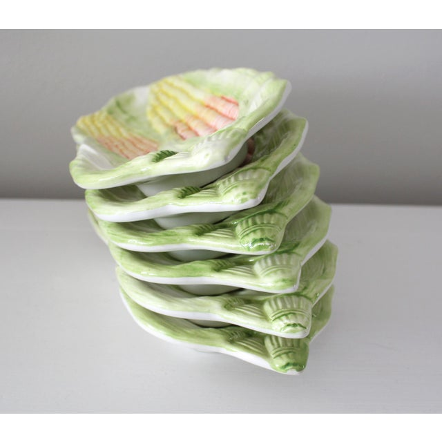 Ceramic Vintage Italy Majolica Corn on the Cob Dishes - Set of 6 For Sale - Image 7 of 13