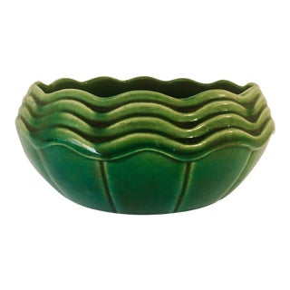 Art Deco McCoy Low Planter/Bowl in Jade Green For Sale