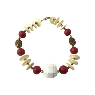 20th Century Tribal Style Red, Cream & Brass Necklace For Sale
