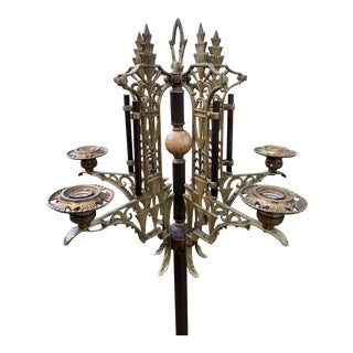 1920s Antique Art Deco Oscar Bach Style Onyx Stone Floor Candelabra Lamp Torchiere For Sale