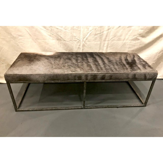 Metal Late 20th Century Vintage Forged Iron and Hide Bench For Sale - Image 7 of 7