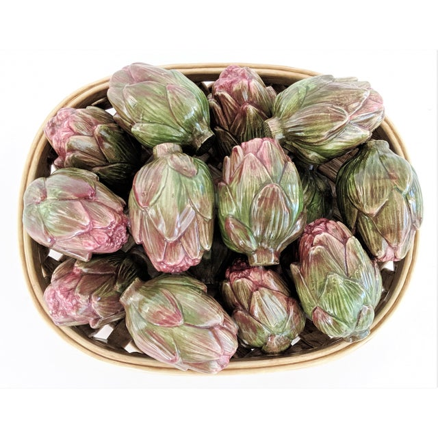 French Country Jay Wilfred Div. Of Andrea Sadek Ceramic Basket With Artichokes For Sale - Image 3 of 11