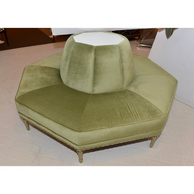 2010s Caracole Modern Celery Green Velvet and White Stone Round/Octagonal Banquette For Sale - Image 5 of 8