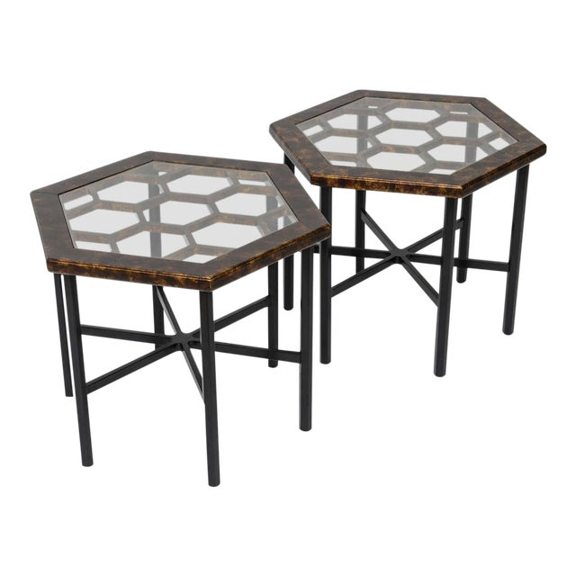 1960s Asian Widdicomb Pair Hexangonal Faux Tortoise Occasional Tables - a Pair For Sale