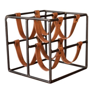 Vintage Arthur Umanoff Iron and Leather Wine Rack For Sale