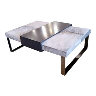 Modern Cowhide Coffee Table W/ Movable Tray For Sale