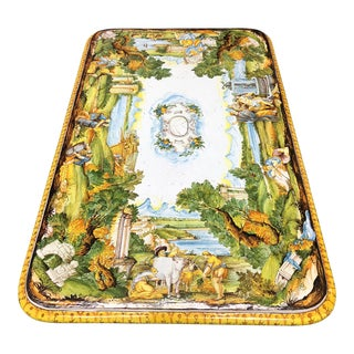 Hand Painted Majolica Earthenware Table Top Only