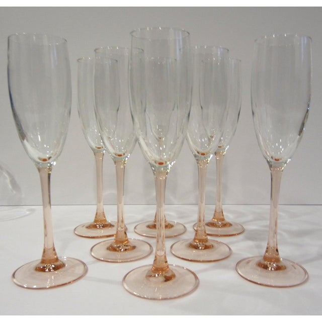 French Pink Champagne Flutes - Set of 8 For Sale In Nashville - Image 6 of 11