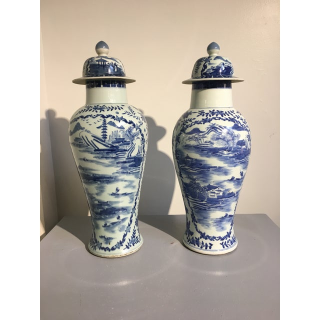 Chinese Tall Blue and White Baluster Covered Porcelain Vases, circa 1900- A Pair For Sale - Image 4 of 8