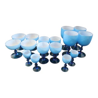 Mid-Century Modern Italian Carlo Moretti Blue Glasses - Set of 16 For Sale