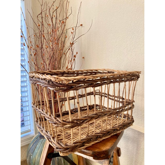 Contemporary Crisscross Open Weave Handwoven Rattan & Willow Basket by Three Hands - Circa 1990 For Sale - Image 3 of 13