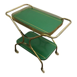 Mid-Century Rolling Metal Bar Cart With Perferated Gold Trim For Sale