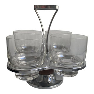 Vintage Chrome Caddy With Clear Glass Tumblers - Set of Four (4) For Sale