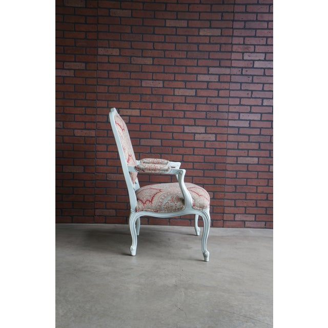 Red Modern Ethan Allen French Provincial Chantel Accent Chair For Sale - Image 8 of 10