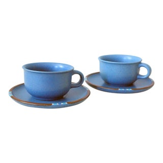 Vintage Dansk Mesa Blue Cup and Saucer - a Pair For Sale