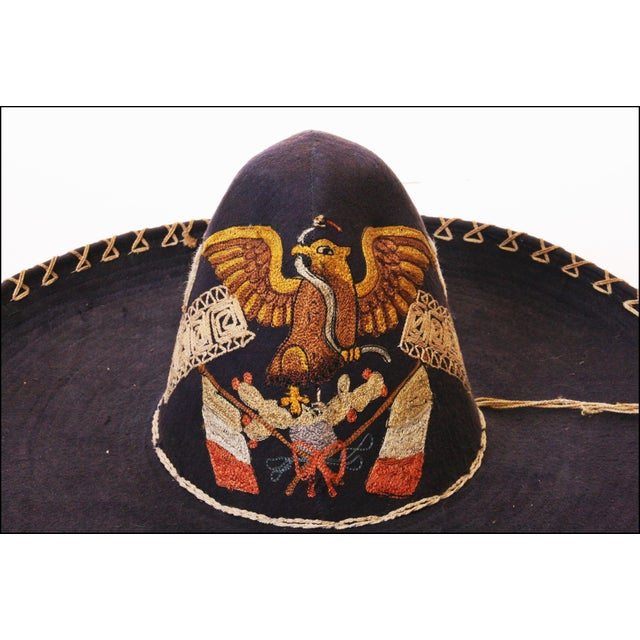 Early Mexican Navy Blue Embroidered Sombrero - Image 7 of 11