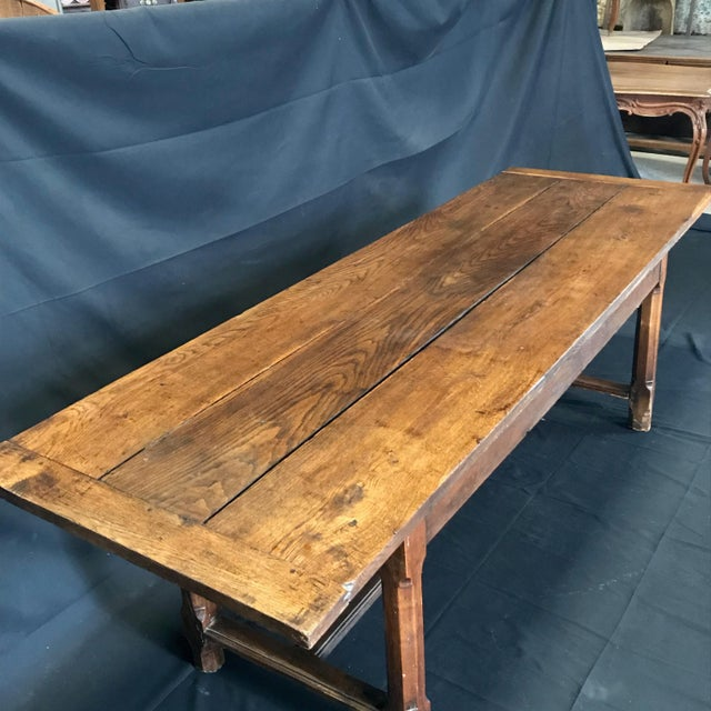 Wood Early 19th Century Oak Farm Table With Sliding Drawers For Sale - Image 7 of 13