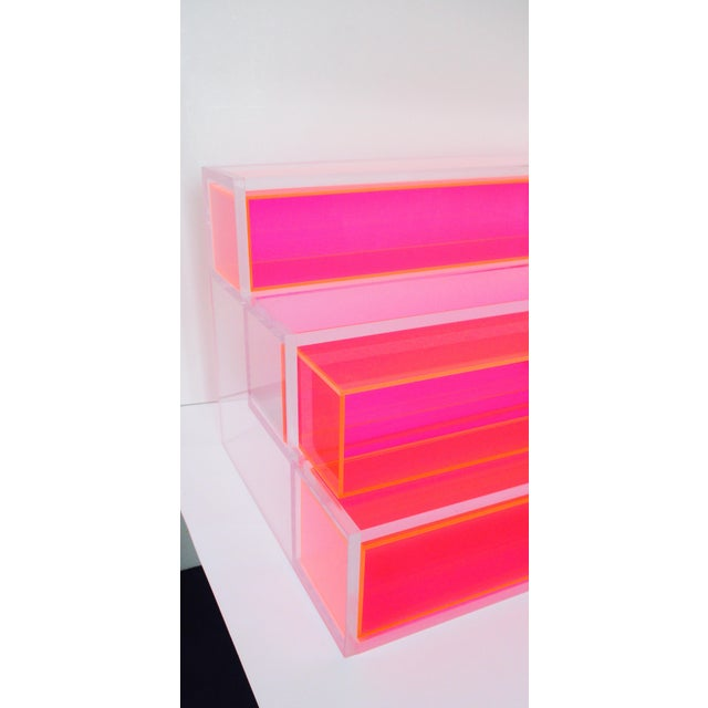 Pink Block Lucite Display Shelving For Sale - Image 5 of 10