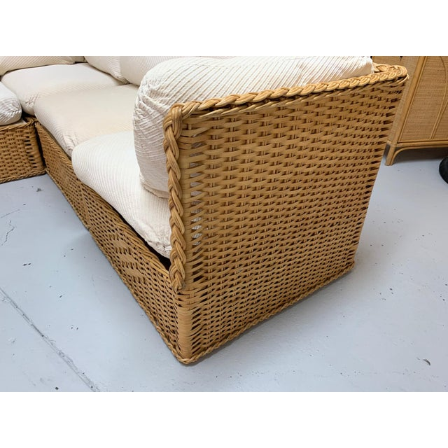 Michael Taylor Seven Piece Wicker Sectional Sofa in the Manner of Michael Taylor For Sale - Image 4 of 9