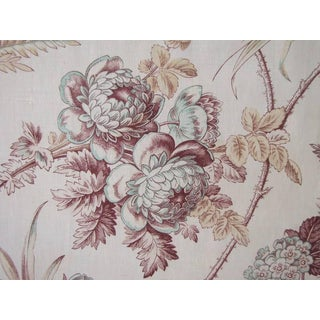 French Fabric Antique Hand Block Printed Floral Design on Cotton 1.38 Yards For Sale
