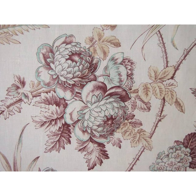 French Fabric Antique Hand Block Printed Floral Design On Cotton