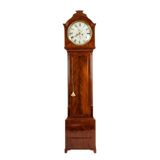 Mid-19th Century Mahogany Wood Scottish Long Case Clock For Sale