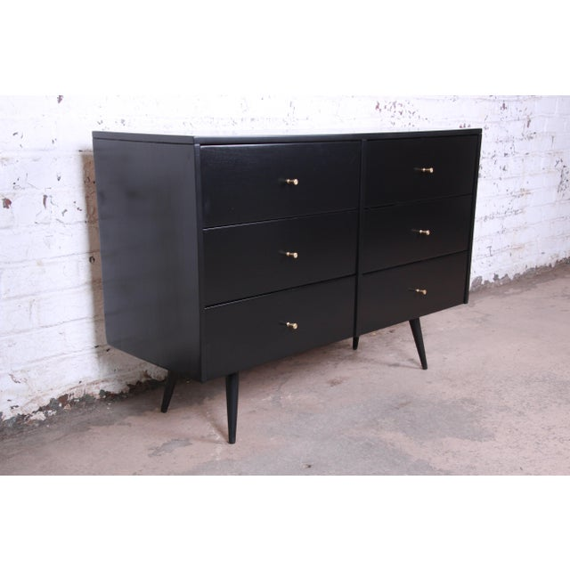 Contemporary Paul McCobb Planner Group Ebonized Six-Drawer Dresser, Newly Restored For Sale - Image 3 of 11