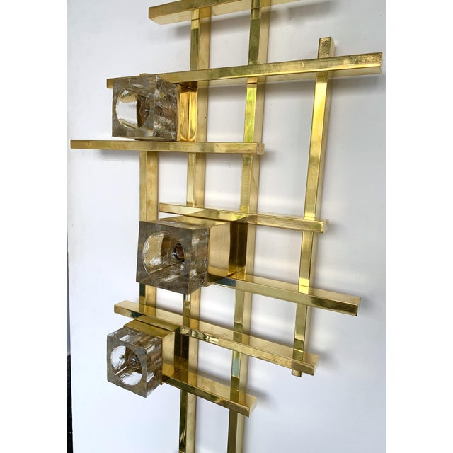 Contemporary Brass Murano Glass Cubic Sconces. Italy For Sale - Image 6 of 11