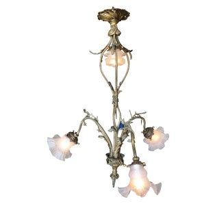 Ornate Cast Brass Floral Electric Chandelier, W/ Four Downlighter Arms For Sale