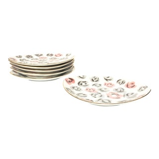 Vintage Floral Porcelain Dessert Dishes - Set of 6