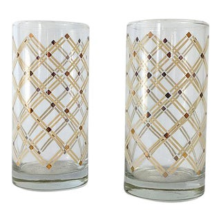 Mid-Century White & Gold Drinking Glasses - A Pair