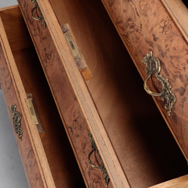 Burr Walnut Bombe Chest With Ebonised Feet For Sale - Image 10 of 11