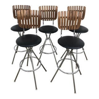 Arthur Umanoff Wood Slat Swivel Bar Stools - Set of 5 For Sale