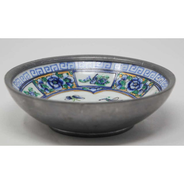 Vintage Blue and White Porcelain Bowl, Catchall Encased in Pewter For Sale In Los Angeles - Image 6 of 13