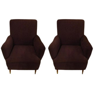 Pair of Gio Ponti Style Mid Century Modern Arm Lounge Chairs For Sale
