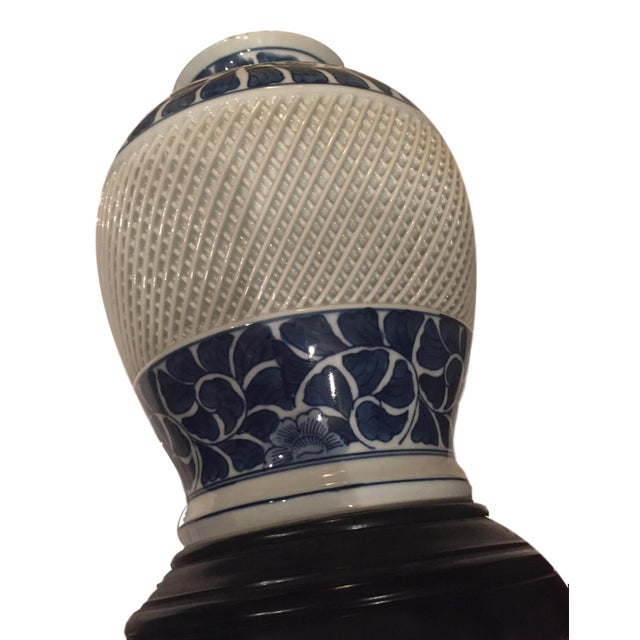 Vintage Blue and White Lattice Table Lamp - Image 5 of 5