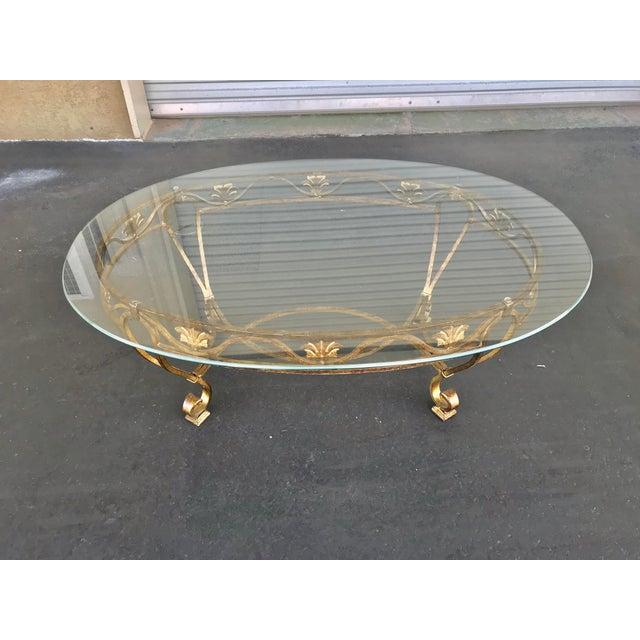 Hollywood Regency Vintage Oval Metal Glass Top Table For Sale - Image 3 of 9