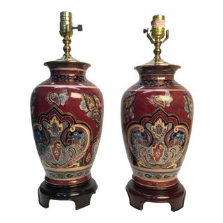 Vintage Asian Style Hand Painted Gilt Table Lamps - a Pair For Sale