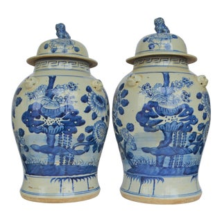 Chinoiserie White & Blue Floral Baluster Ginger Jars - a Pair For Sale