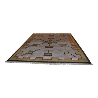1980s Contemporary Navajo Inspired Handwoven Rug - 5′3″ × 9′2″ For Sale