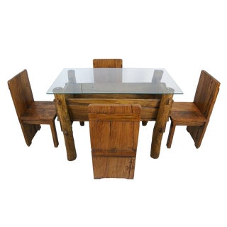 Antique Chinese Country-Style Dining Table With 4 Chairs, 5-Piece Set
