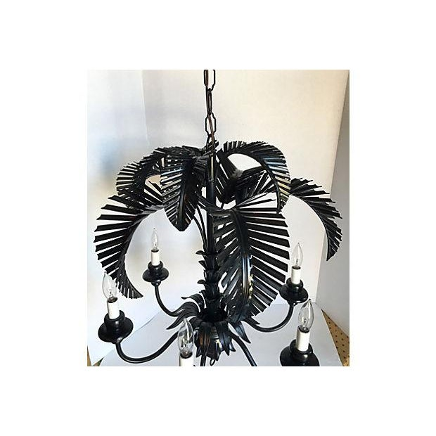 Tole Palm Tree 6-Arm Chandelier - Image 4 of 8