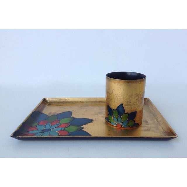 Gold Leaf Lacquered Smoke & Coaster Set For Sale In West Palm - Image 6 of 11