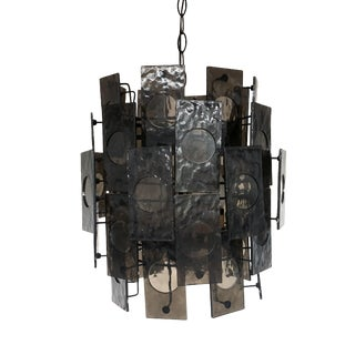 Mid Century Modern Tiered Black Chandelier For Sale