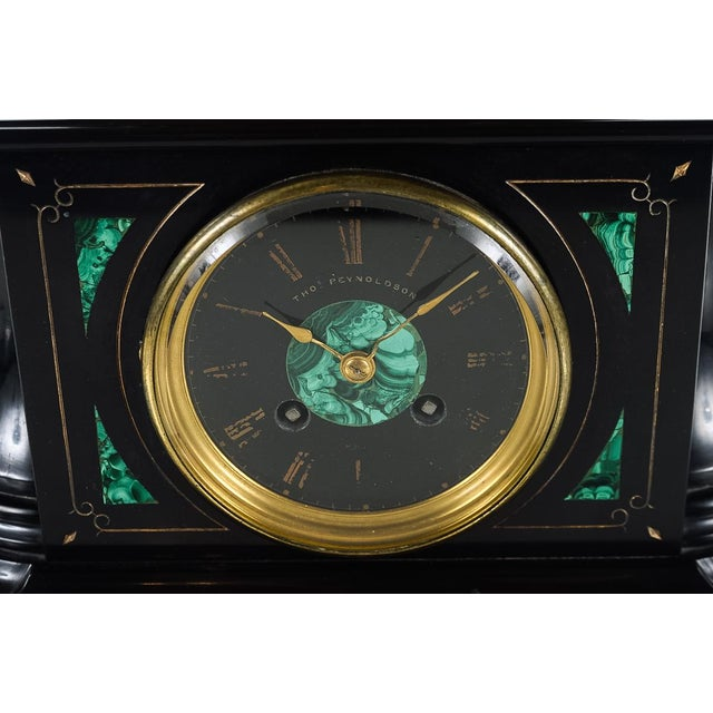 Mid-Century Modern Gilt Bronze Figure on Marble & Malachite Clock For Sale - Image 3 of 9