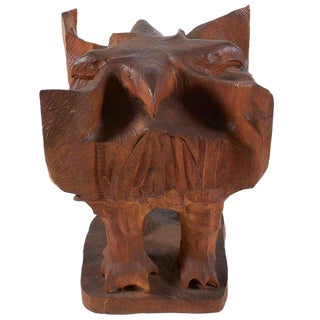 Leonard Baskin Carved Wood Four-sided Eagle Sculpture, Dated and Signed For Sale