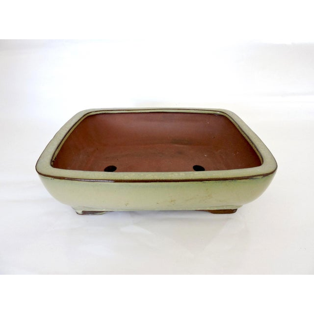 Asian 20th. Century Olive Green Drip Glaze Japanese Bonsai Planter or Garden Bowl For Sale - Image 3 of 6