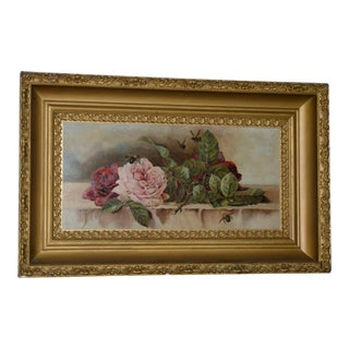 """American """"Roses and Bumblebees"""" Oil Painting C.1900 For Sale"""